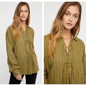 Free People Under the Boardwalk Moss Blouse